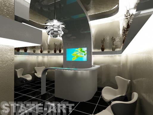 Проект интерьера со встроенным монитором