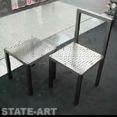 фото стул и табурет из нержавеющего перфолиста
