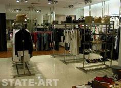 напольные рейлы для магазина одежды