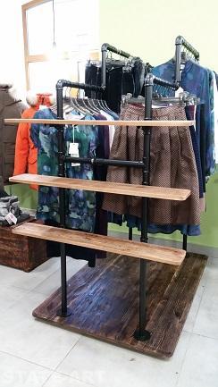 Рейл металлический двойной для магазина одежды
