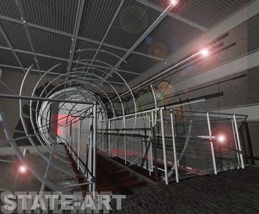 Проект архитектора Александра Ливенсона - мост и потолок перфорированная сталь