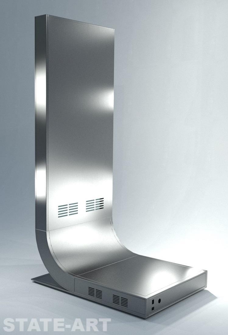 Вид сзади на эксклюзивный декоративный пилон из нержавеющей стали