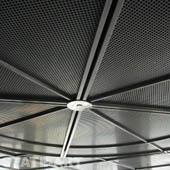 потолок из перфорированных нержавеющих панелей